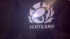 Framed 3rd Scotland Rugby Shirt & Match Programme Andrew Mower France 2003