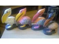 Colourful pelicans
