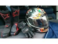Female motor bike leathers, helmet, boots etc.