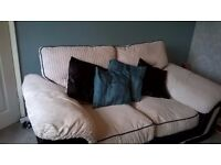 DFS Cream and black faux lether sofa