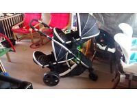 Kidz kargo duellete pushchair, great condition, 2 car seats with hoods, 2 seat units, rain cover