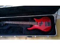 Berry red Tanglewood Bass Guitar in pristine condition, SKB case included