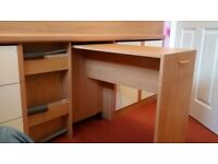 Cabin bed with storage and pull out desk