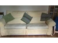 Three piece suite comprising of a 3 seater sofa, 2 seater sofa, armchair and pouffe.