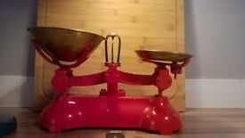 Antique weighing scales with weights
