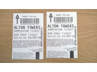 Alton Towers tickets 2 of 24-09-16
