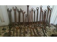 Toolbox full of heavy duty spanners