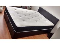 King size faux leather ottoman storage bed and mattress