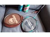 Badminton rackets and shuttlecocks