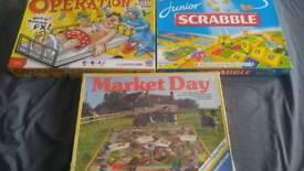 Children's Board games bundle rare market day scrabble junior + monopoly + triominos and more