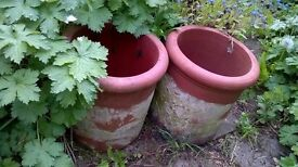 two short chimney pots