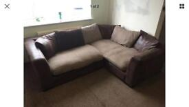 DFS Madsion Corner Sofa Brown Tweed