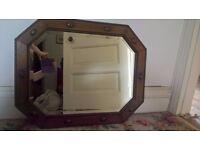 Vintage Hall / Living Room Mirror - Oak framed - unusual octagonal design