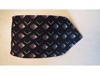 Smart patterned tie by d'Alembi Pure silk. Black