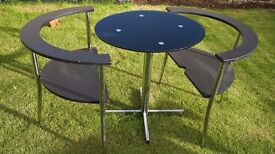 Space saving 2 seater dining table (Glass table top and chrome legs)