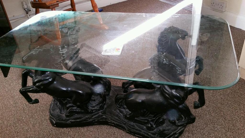 4 Post Horse Glass Top Coffee Table In Leicester