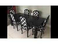 Barker & Stonehouse Black Glass Dining table and 6 chairs