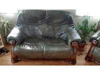Green Leather 2 seater sofa and 1 x Arm chair excellent unworn condition