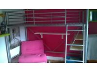 Metal High Sleeper Bed/Desk - Pink Futon. No Mattress