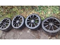 """VW/AUDI 18"""" ALLOYS, ALLOYS IS IN AVERAGE CONDITION TYRES ARE GOOD 4F0601025BN"""