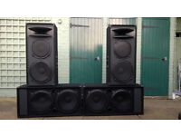 Speakers 4 cabs for DJ disco club party 2 twin SUBS & 2, 3-Way cabs all Eminence