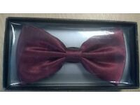 claret red silk bow tie. brand new. mint condition