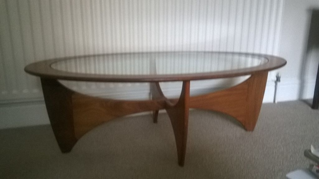 Retro teak oval glass top coffee table nathan ercol for Oval teak coffee table