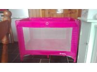 pink travel cot great condition