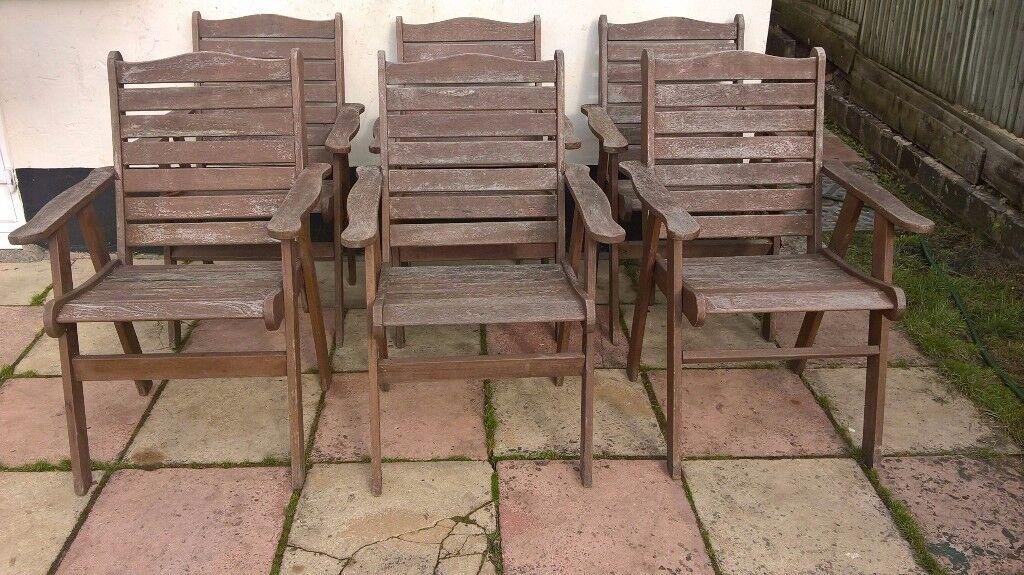 6 Wooden garden chairs