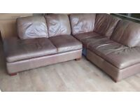 LEATHER CORNER SOFA, ARMCHAIR AND FOOT REST