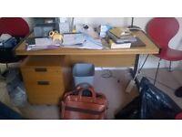 office desk & filing cabinet