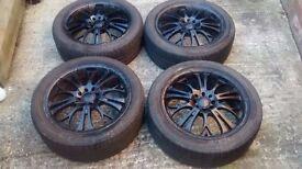 "17"" Alloy Wheels and Bridgestone Tyres Multi Stud 4x100 4x114.3 Renault BMW Honda Nissan"