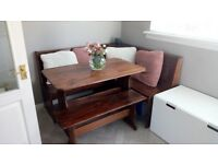 Lovely corner bench pub style dining table!