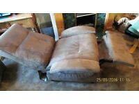 Brown Suedette Reclining Armchair - Hardly used