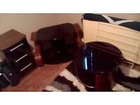 Furniture set, wood effect and black glass. Bedside drawers, small table and TV stand.