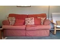 good quality terracota sofa and armchair, v comfy, feather filling, faded, no fire certificate.