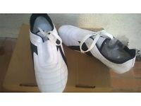Professional shoes Taekwondo leather made color white-black