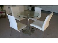 Dwell Palermo Glass Dining Table & Four Cream Leather Chairs