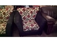 PAIR OF 2 BLACK RED IVORY WHITE FLORAL DESIGN ARM CHAIRS IN EXCELLENT USED CONDITION