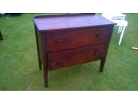 Vintage wooden 2 drawer chest freestanding Mount Hawke TR4 £20