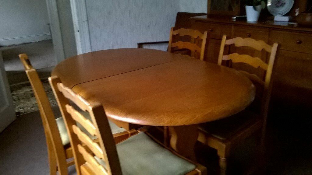 Oak Dining Table Four Chairs Matching Tall Dresser
