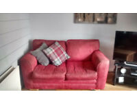 2 TWO PIECE RED SOFA - Good Condition