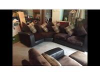 Leather/fabric corner sofa and swivel seat