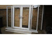 White UPVC Double Glazed Doors and Side Windows - Brand new, unused