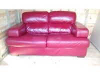Reids Red Leather Andiamo Suite (2 x two seater and stool)