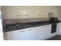 Gloss Kitchen Units with Integrated Fridge, Freezer and Cooker, Ceramic hob, Hood & steel sink