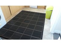 XL Black Checked Flat Weave Rug with Non Slip Backing 160 x 225cms Brand New