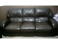 3 seater brown leather sofa recline very good condition