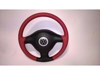 VW GOLF MK5 REFURBISHED STEERING WHEEL NEW RED/BLACK LEATHER RED STITCHING WITH AIRBAG