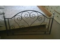 standard double wrought iron headboard with fixings